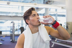 Fit man taking a break from working out Royalty Free Stock Image