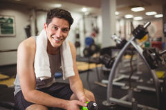 Fit man taking a break from working out Stock Photography