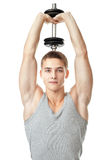 Fit man training his triceps Stock Photos