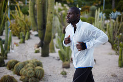 Fit man in white windbreaker running fast in beautiful park Stock Photos
