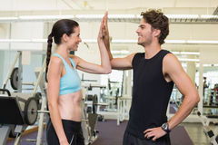 Fit man and woman high fiving. Fit men and women high fiving at the gym royalty free stock photos
