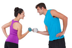 Fit man and woman lifting dumbbells. Fit men and women lifting dumbbells on white background stock images