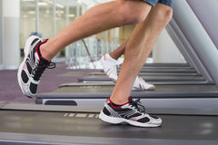 Fit man and woman running on treadmill. At the gym royalty free stock photography