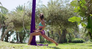 Fit muscular gymnast warming up in a park stock video footage