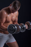 Fit muscular man exercising with dumbbell Stock Images