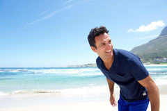 Fit older man at the beach stock photography
