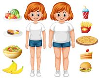 Fit and overweight woman with food. Illustration stock illustration