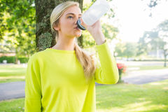 Fit peaceful blonde drinking from sports bottle Royalty Free Stock Photo