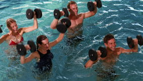 Fit people doing an aqua aerobics class in swimming pool with foam dumbbells Royalty Free Stock Image