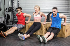Fit people doing exercises with box Royalty Free Stock Image