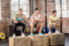 Fit people doing jump box stock photo