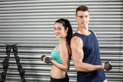 Fit people lifting dumbbells back to back. At crossfit gym Stock Photography
