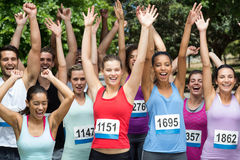 Fit people at race in park Royalty Free Stock Photo