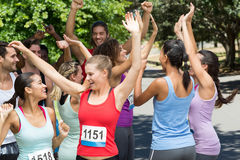 Fit people at race in park Royalty Free Stock Images