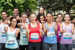 Fit people at race in park Stock Photos