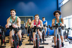 Fit people in a spin class Stock Photo