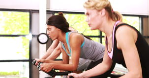 Fit people working out on exercise bike