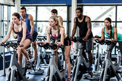 Fit people working out at spinning class. In the gym Royalty Free Stock Image