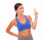 Fit pretty woman standing with excitement Stock Image