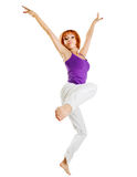 Fit red woman performing fitness Royalty Free Stock Image