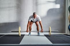 Fit senior man lifting weights alone in a gym stock photography