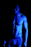 Fit shirtless black model, studio shot Royalty Free Stock Photography