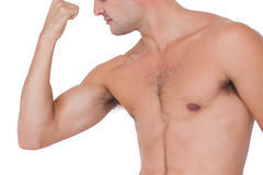 Fit shirtless man flexing his bicep Stock Images