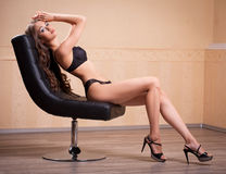 Fit slender sensual lingerie brunette. Stock Photography