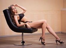 Fit slender sensual lingerie brunette. Royalty Free Stock Image