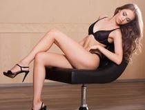 Fit slender sensual lingerie brunette. Stock Image