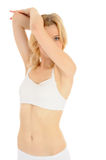 Fit Slim Woman Body In White Underwear Royalty Free Stock Photo