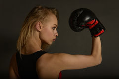 Fit slim young beautiful blonde woman boxing in sportswear. Photo set of sporty muscular female girl wearing sports clothes over gray background Stock Photography