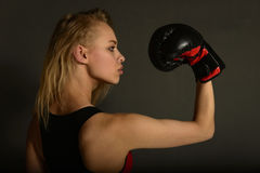 Fit slim young beautiful blonde woman boxing in sportswear. Photo set of sporty muscular female girl wearing sports clothes over gray background Royalty Free Stock Photography