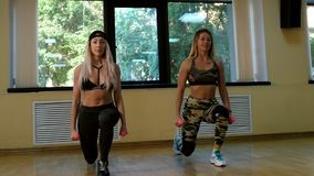 Fit smiling group doing exercise in gym. Slow motion. 4K stock video footage