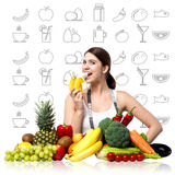 Fit smiling woman enjoying banana. Young woman eating banana, stay fit vector illustration