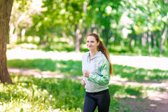 Fit sportive women jogging in the park Royalty Free Stock Photo