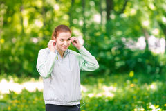 Fit sportive women jogging in the park Stock Photo