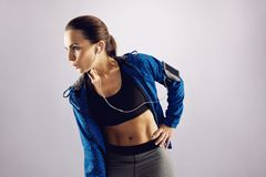 Fit sportswoman looking at copyspace Stock Photos