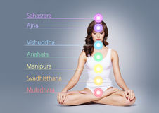 Fit and sporty beautiful woman with perfect shape. Girl in white. Healthy woman meditating in lotus position. Colored lights with chakra names over her body Royalty Free Stock Photo