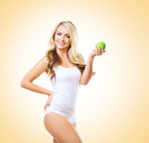 Fit and sporty girl in white underwear. Beautiful and healthy wo Stock Photography