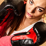 Fit sporty woman boxing Royalty Free Stock Images