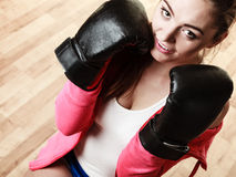 Fit sporty woman boxing Royalty Free Stock Image