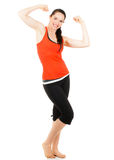 Fit sporty woman flexing both arms Stock Images