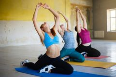 Fit sporty women stretching working out together stock images