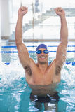 Fit swimmer cheering in pool at leisure center Stock Photo