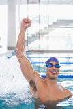 Fit swimmer cheering in pool at leisure center Stock Image