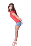 Fit teenage girl in shorts Stock Photos