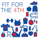 Fit for the 4th -- Fourth of July graphic. With space for text Stock Image