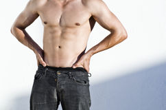 Fit torso on anonympus man Stock Images
