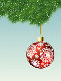 Fit-tree branch with red christmas ball. EPS 8 Royalty Free Stock Images